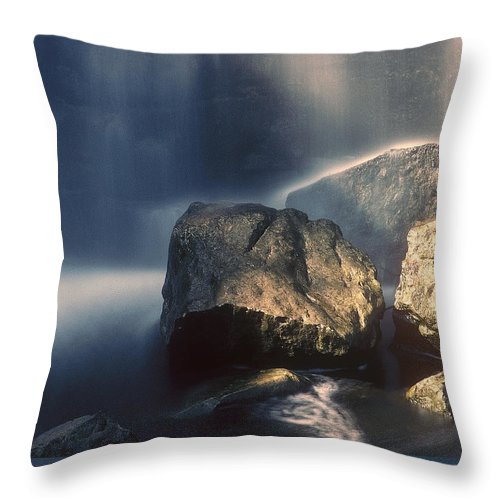 Rocks Throw Pillow featuring the photograph Rocks And Waterfalls by D'Arcy Evans