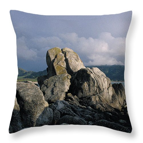 Nature Throw Pillow featuring the photograph Rocks At Carmel by Thomas Firak