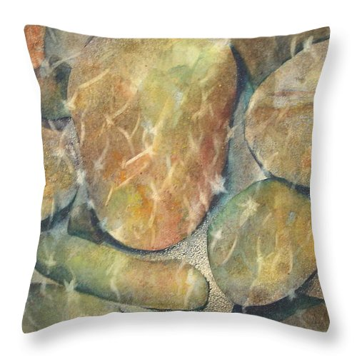 Rocks Throw Pillow featuring the painting Rocks In Stream by Marlene Gremillion