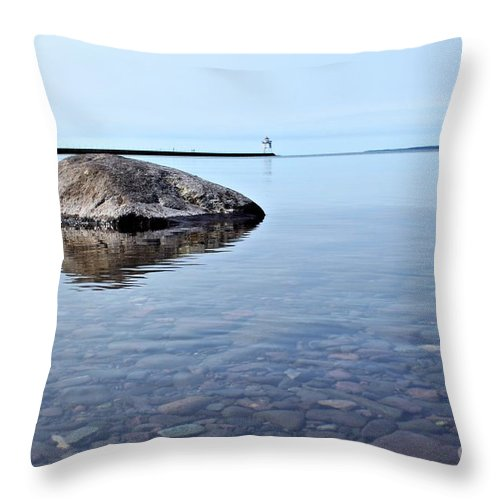 Lake Superior Throw Pillow featuring the photograph Rocks Of Lake Superior 10 by Jimmy Ostgard