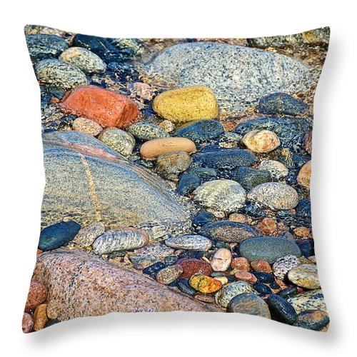 Rocks Of Many Colors On Lake Superior Shoreline Off North Country Trail In Pictured Rocks National Lakeshore Throw Pillow featuring the photograph Rocks Of Many Colors On Lake Superior Shoreline In Pictured Rocks National by Ruth Hager