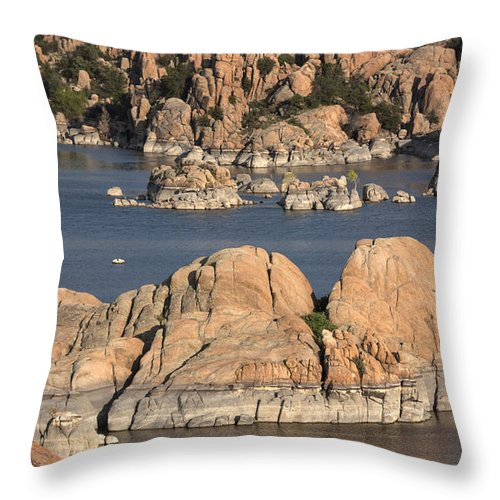 Rocks Throw Pillow featuring the photograph Rocks Of Watson Lake by Jacki Smoldon