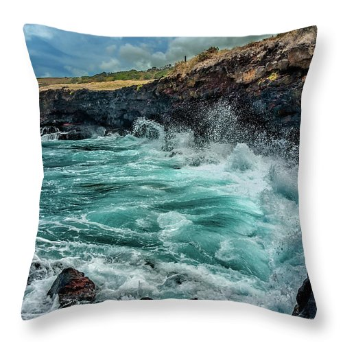 Hawaii Throw Pillow featuring the photograph Rocky Coast by Christopher Holmes