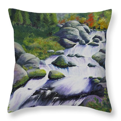 Waterfall Throw Pillow featuring the painting Rocky Creek by Karen Stark