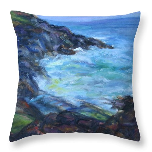 Quin Sweetman Throw Pillow featuring the painting Rocky Creek Viewpoint by Quin Sweetman