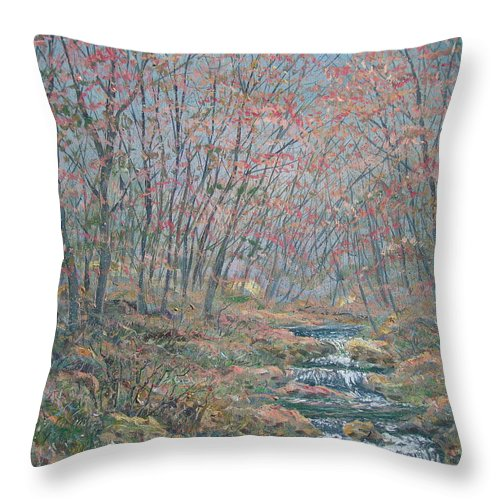 Painting Throw Pillow featuring the painting Rocky Forest. by Leonard Holland