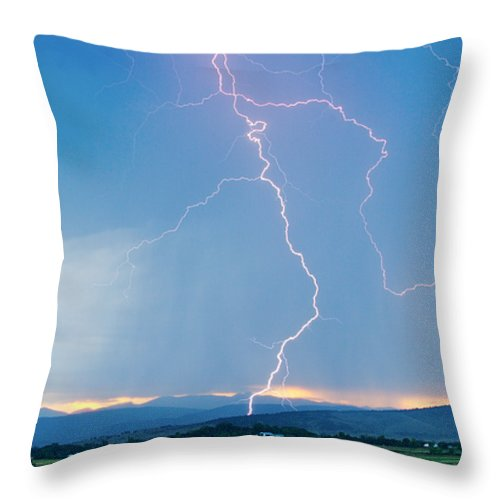 July Throw Pillow featuring the photograph Rocky Mountain Front Range Foothills Lightning Strikes 1 by James BO Insogna
