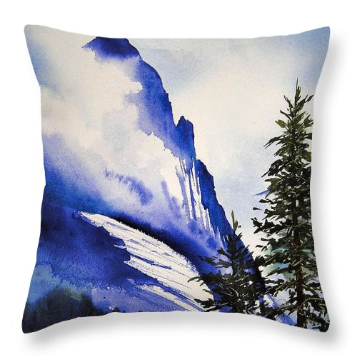 Rocky Mountains Throw Pillow featuring the painting Rocky Mountain High by Karen Stark