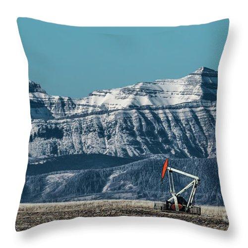 Allenfoto Throw Pillow featuring the photograph Rocky Mountain Oil by Brad Allen Fine Art