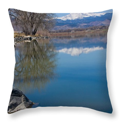 Twin Peeks Throw Pillow featuring the photograph Rocky Mountain Reflections by James BO Insogna