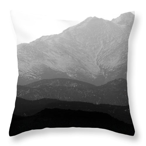 Twin Peaks Throw Pillow featuring the photograph Rocky Mountain Twin Peaks Bw by James BO Insogna