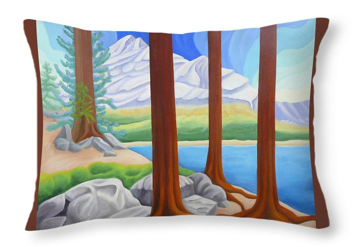 Landscape Throw Pillow featuring the painting Rocky Mountain View 1 by Lynn Soehner
