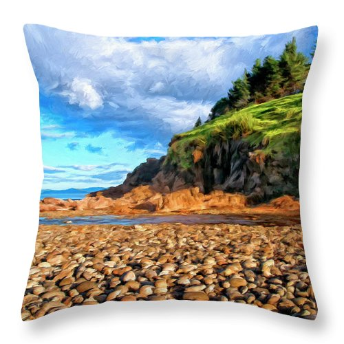 Rocky Oregon Beach Throw Pillow featuring the painting Rocky Oregon Beach by Dominic Piperata