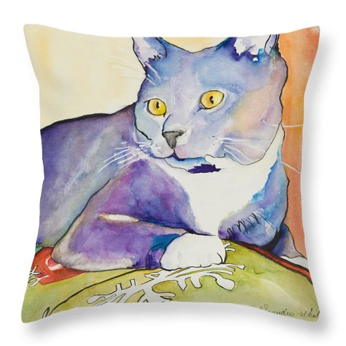 Pat Saunders-white Throw Pillow featuring the painting Rocky by Pat Saunders-White