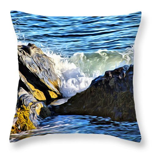 Sea Scape Throw Pillow featuring the photograph Rocky Shore 1 by Modern Art