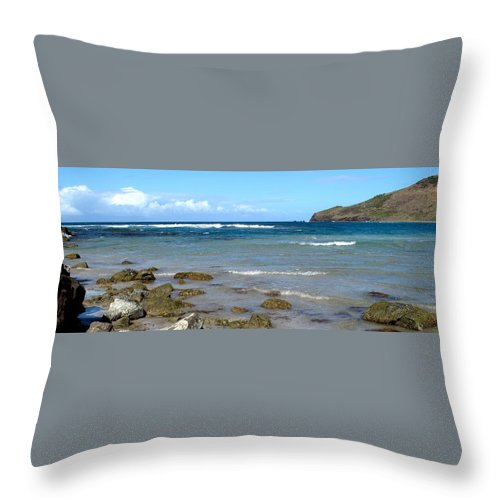St Kitts Throw Pillow featuring the photograph Rocky Shore by Ian MacDonald