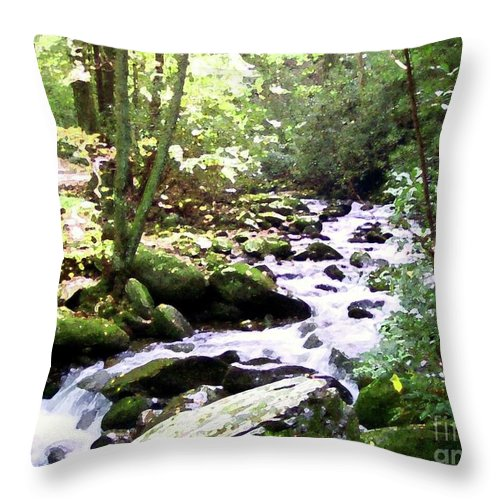 Nature Throw Pillow featuring the mixed media Rocky Stream 1 by Desiree Paquette