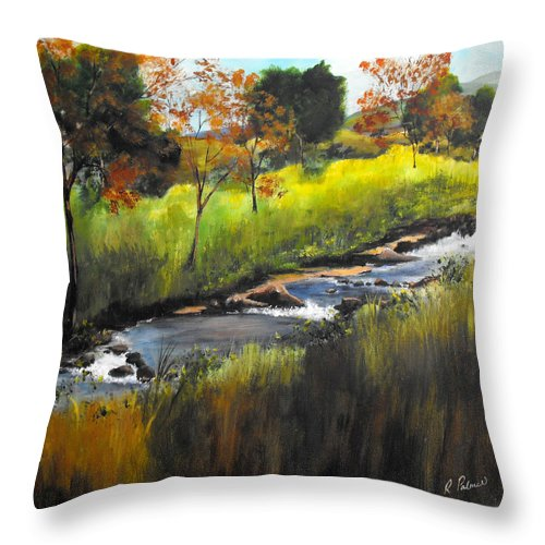 Landscape Throw Pillow featuring the painting Rocky Stream by Ruth Palmer