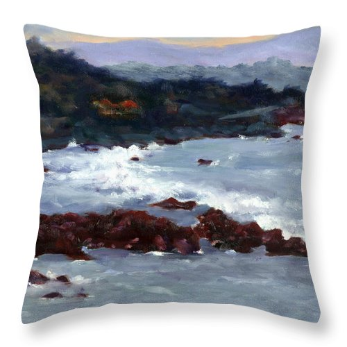 Ocean Throw Pillow featuring the painting Rocky Surf by Linda Hiller