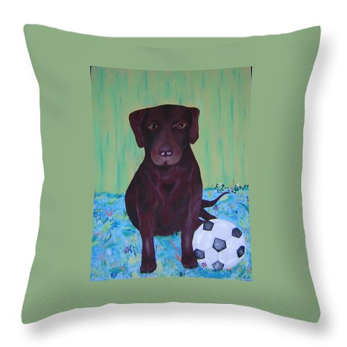 Dog Throw Pillow featuring the painting Rocky by Valerie Josi