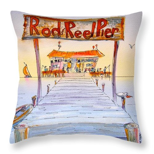 Calendar Throw Pillow featuring the painting Rod And Reel Pier by Midge Pippel
