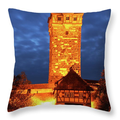 Rothenburg Throw Pillow featuring the photograph Rodertor At Twilight In Rothenburg by Greg Matchick