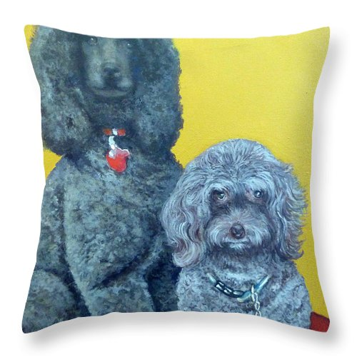 Pet Portrait Throw Pillow featuring the painting Roger And Bella by Tom Roderick