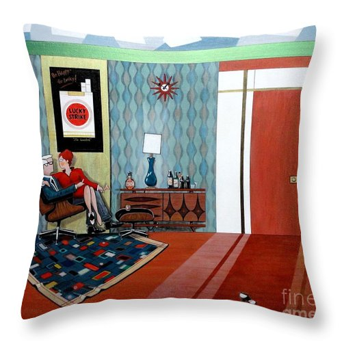 John Lyes Throw Pillow featuring the painting Roger Sterling And Joan Sitting In An Eames by John Lyes