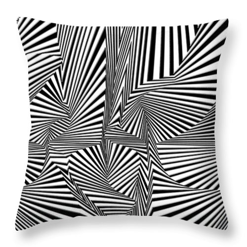 Dynamic Black And White Throw Pillow featuring the painting Rolav by Douglas Christian Larsen