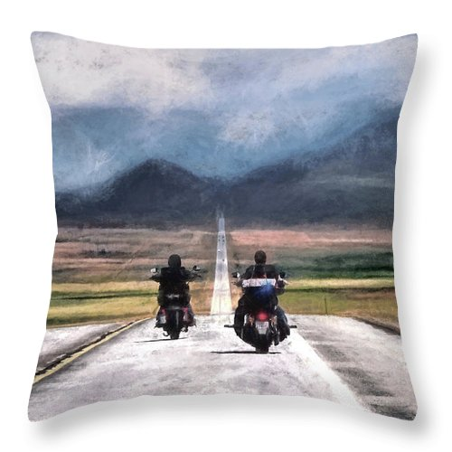 Highway Throw Pillow featuring the photograph Roll Me Away by Jim Hill