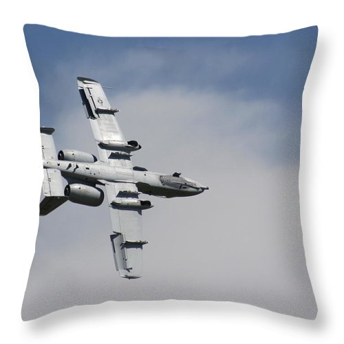 Airplane Throw Pillow featuring the photograph Roll Over Wafb 09 A10 Thunderbolt 2 by David Dunham