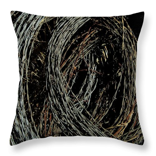 Barbed Wire Throw Pillow featuring the photograph Rolled Barbed Wire-signed-#1936 by J L Woody Wooden