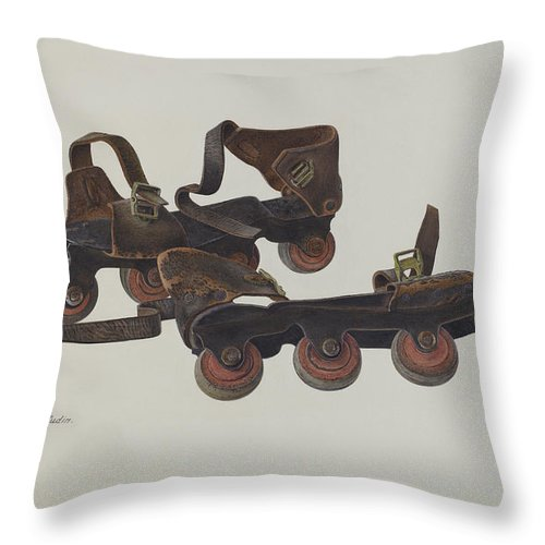 Throw Pillow featuring the drawing Roller Skates by Albert Rudin