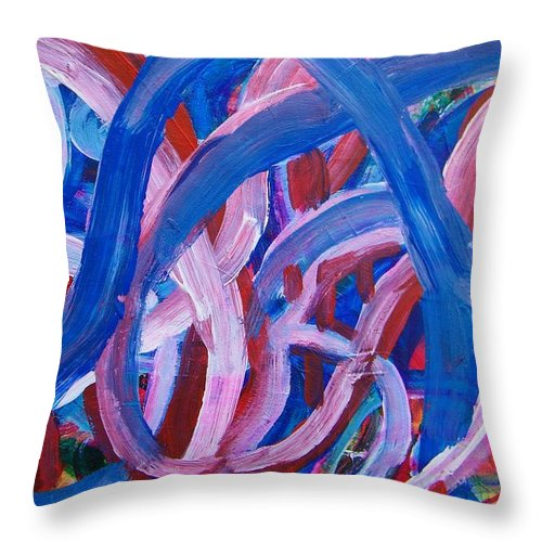 Abstract Throw Pillow featuring the painting Rollercoaster by Judith Redman