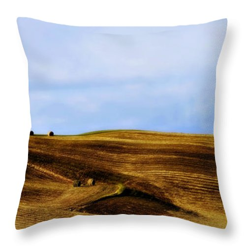 Italy Throw Pillow featuring the photograph Rolling Hills Of Hay by Marilyn Hunt