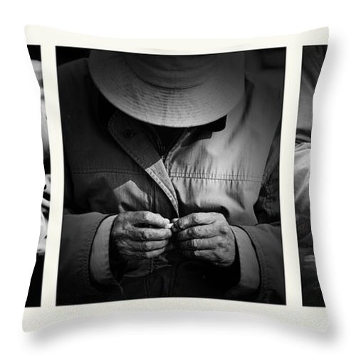 Rollup Rolling Cigarette Smoker Smoking Man Hat Monochrome Throw Pillow featuring the photograph Rolling His Own by Sheila Smart Fine Art Photography