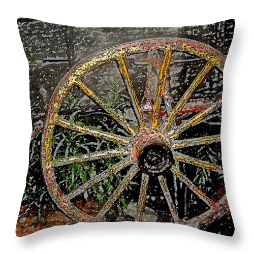 Wagon Wheel Throw Pillow featuring the photograph Rolling No More by Wayne Potrafka