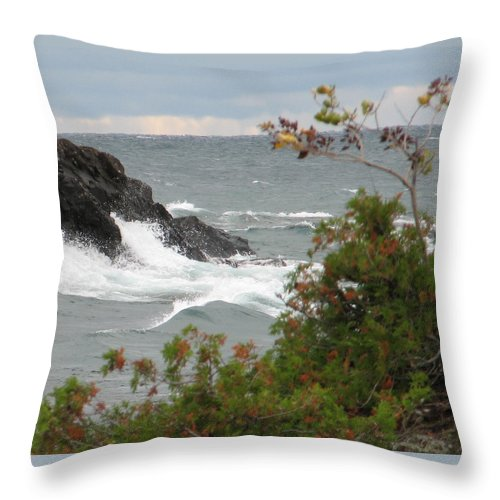 Waves Throw Pillow featuring the photograph Rolling Storm by Kelly Mezzapelle