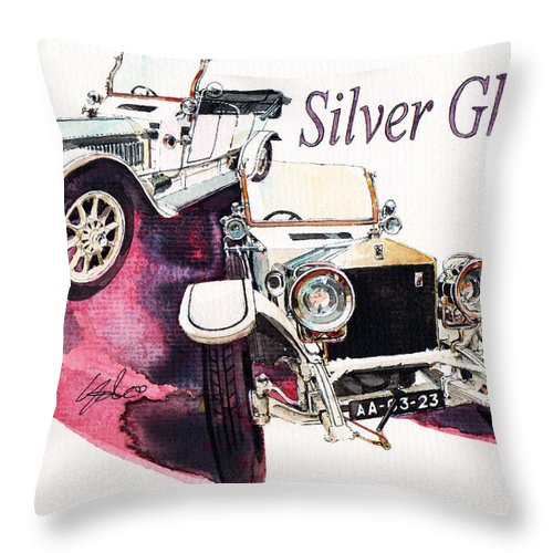 Rolls Royce Silver Ghost (1911) Throw Pillow featuring the painting Rolls Royce Silver ghost             by Yoshiharu Miyakawa