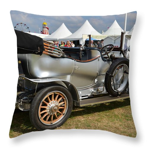 1910 Rolls Royce Silver Ghost. Rolls Royce. Classic Car. Veteran Car. Open Top Rolls. Silver Rolls Royce Classic. Goodwood Revival. Throw Pillow featuring the photograph Rolls Royce Silver Ghost by Graham Smith