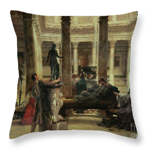 Roman Throw Pillow featuring the painting Roman Art Lover by Sir Lawrence Alma-Tadema