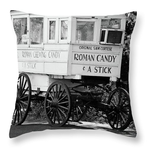 New Orleans Throw Pillow featuring the photograph Roman Candy - Bw by Scott Pellegrin