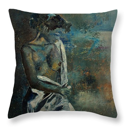 Nude Throw Pillow featuring the painting Roman Nude 45 by Pol Ledent