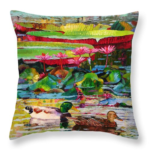 Mallard Ducks Throw Pillow featuring the painting Romancing Among The Lilies by John Lautermilch
