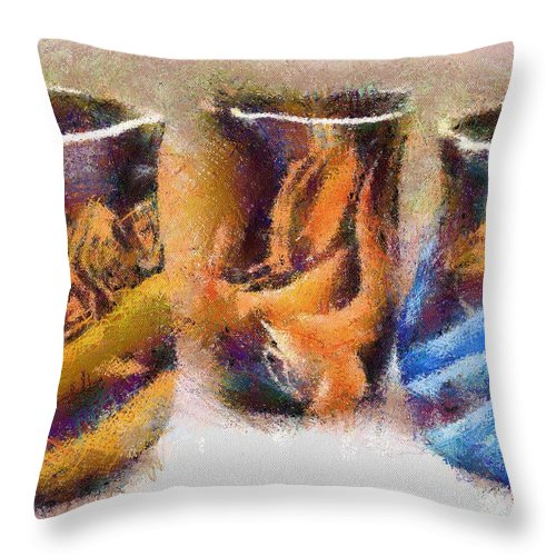 Romania Throw Pillow featuring the painting Romanian Vases by Jeffrey Kolker