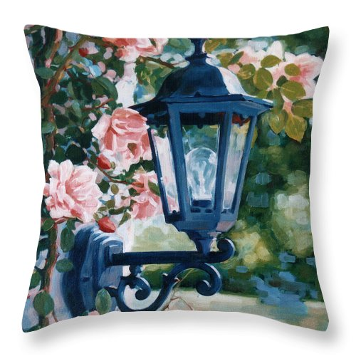 Roses Throw Pillow featuring the painting Romantic Fragrance by Iliyan Bozhanov