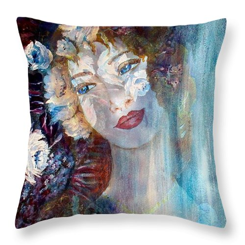 Face Throw Pillow featuring the mixed media Romantic by Robin Monroe