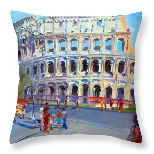 Anfiteatro Flavio Throw Pillow featuring the painting Rome Colosseum by Ylli Haruni
