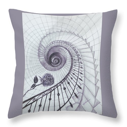 Stairs Throw Pillow featuring the drawing Romeo And Juliet by Elly Potamianos