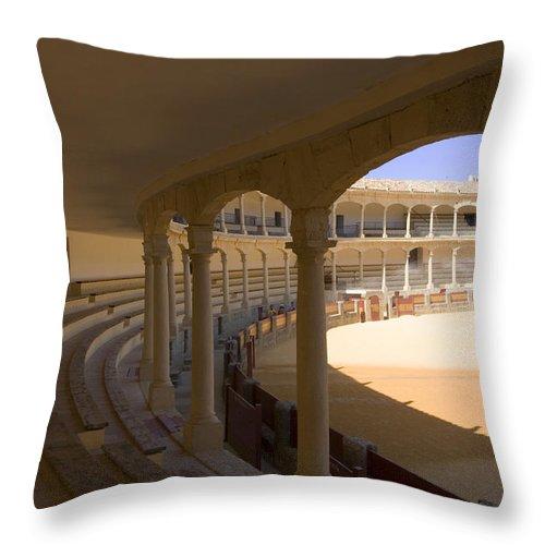 Bullfight Throw Pillow featuring the photograph Ronda Bullring The Real Maestranza De Caballeria by Mal Bray